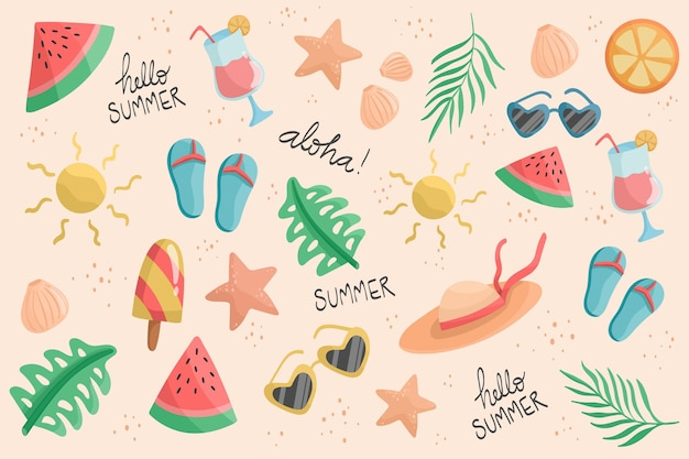 Platte ontwerp zomer achtergrond