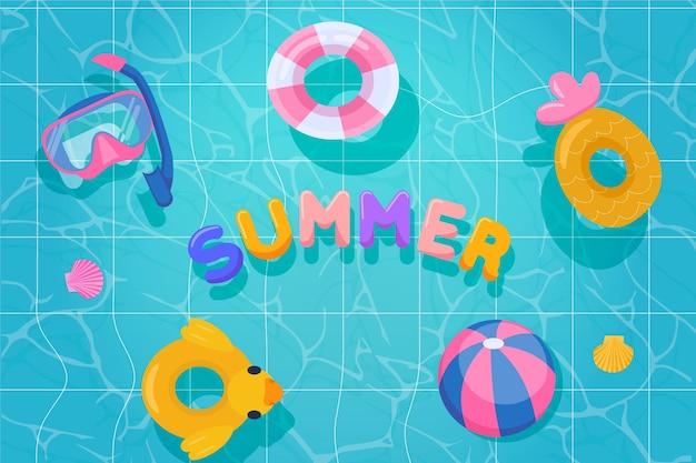 Platte ontwerp zomer achtergrondontwerp