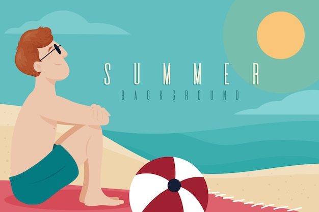 Platte ontwerp zomer achtergrondthema
