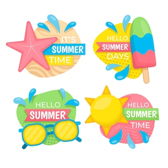 Platte ontwerp zomer badges collectie