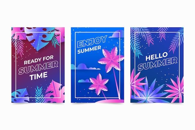 Platte ontwerp zomer kaarten sjabloon