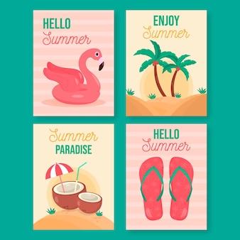 Platte ontwerp zomer kaartenset sjabloon