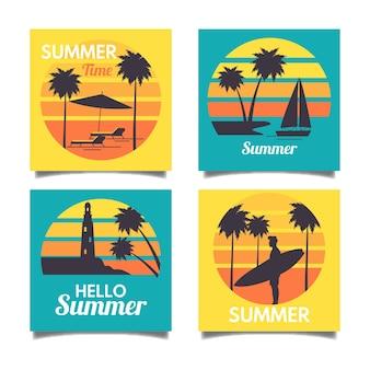 Platte ontwerp zomer kaartpakket sjabloon