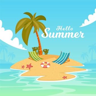 Platte ontwerp zomer palmen op de achtergrond van een eiland