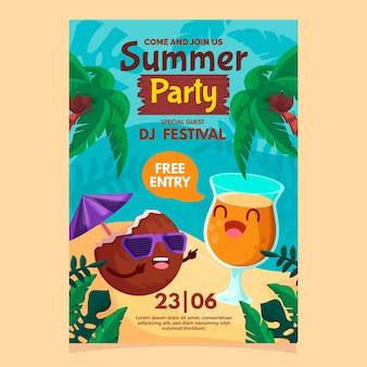 Platte ontwerp zomer partij poster sjabloon
