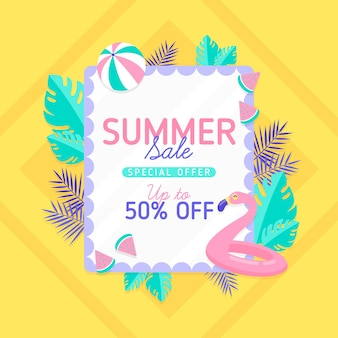 Platte ontwerp zomer verkoop banner