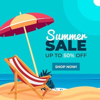 Platte ontwerp zomer verkoop concept