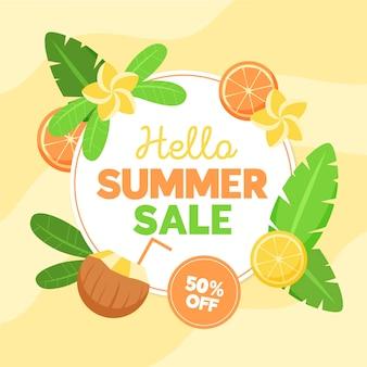 Platte ontwerp zomer verkoop korting banner