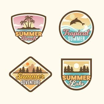 Platte ontwerp zomerbadges