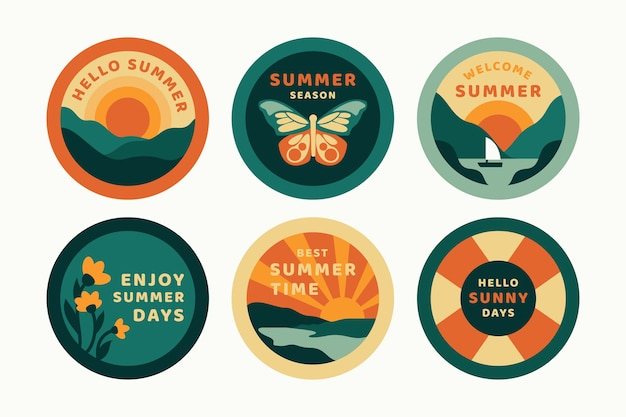 Platte ontwerp zomeretiketten ontwerpen