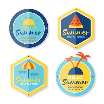 Platte ontwerp zomeretiketten