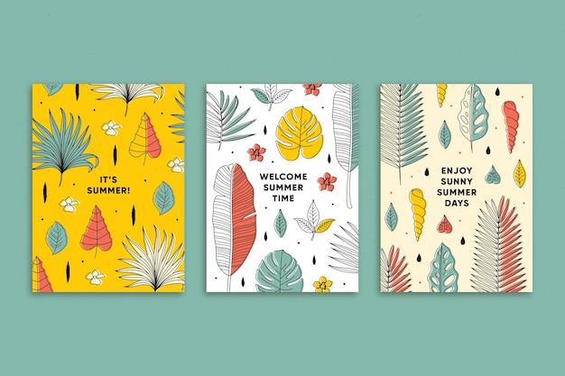 Platte ontwerp zomerkaart collectie