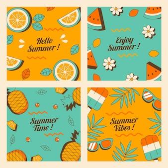 Platte ontwerp zomerkaarten collectie