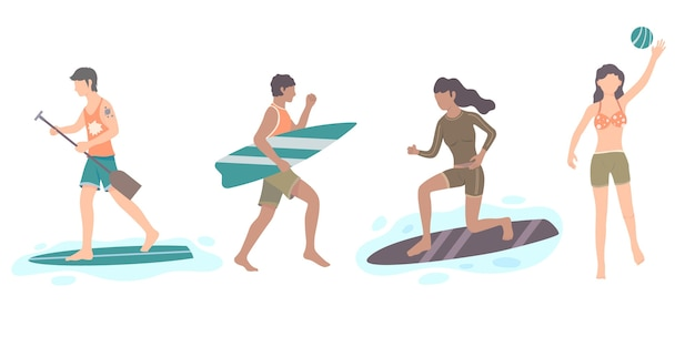 Platte ontwerp zomersporten set