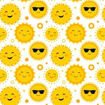 Platte ontwerp zon met zonnebril patroon