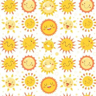 Platte ontwerp zon patroon