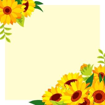 Platte ontwerp zonnebloem grens met kopie ruimte