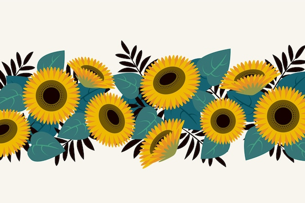 Platte ontwerp zonnebloem grens