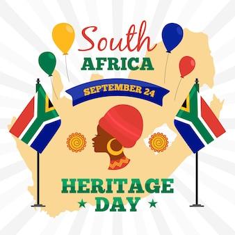 Platte ontwerp zuid-afrika erfgoed dag concept