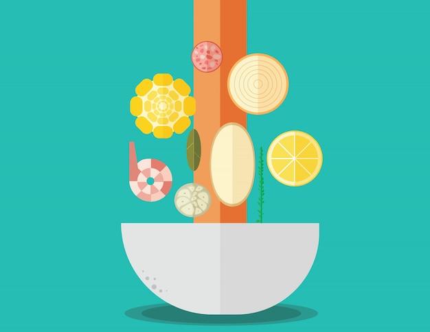 Platte ontwerp zuid-cajun garnalen koken ingrediënten
