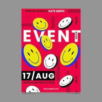 Platte ontwerp zure emoji partij poster sjabloon