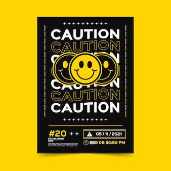 Platte ontwerp zure emoji poster sjabloon