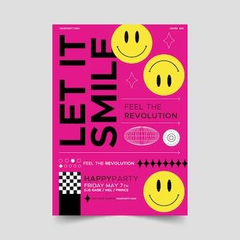 Platte ontwerp zure emoji-poster