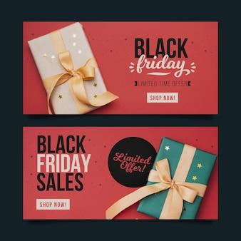 Platte ontwerp zwarte vrijdag banners sjabloon
