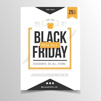Platte ontwerp zwarte vrijdag folder sjabloon