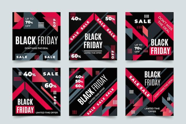 Platte ontwerp zwarte vrijdag instagram postverzameling