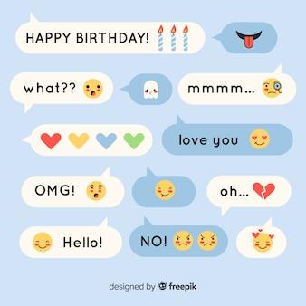 Platte ontwerpberichten bestaande uit uitdrukkingen met emoji's