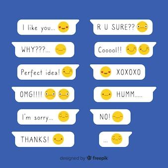 Platte ontwerpberichten met uitdrukkingen in de buurt van emoji's