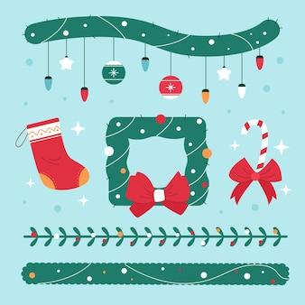 Platte ontwerpcollectie van kerst decoratieve elementen