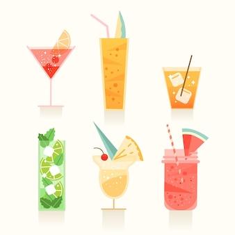 Platte ontwerpcollectie van verschillende cocktails