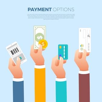 Platte ontwerpconcept betaling. betaalmethode en optie of kanaal om geld over te maken. illustreren.