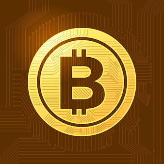 Platte ontwerpconcept bitcoin crypto valuta. vector illustreren.