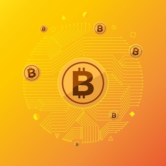 Platte ontwerpconcept bitcoin cryptocurrency