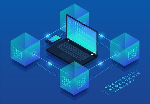 Platte ontwerpconcept blockchain en cryptocurrency-technologie