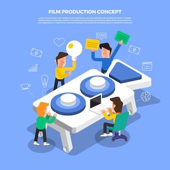 Platte ontwerpconcept brainstorm bezig met desktop-pictogram filmproductie. illustreren.