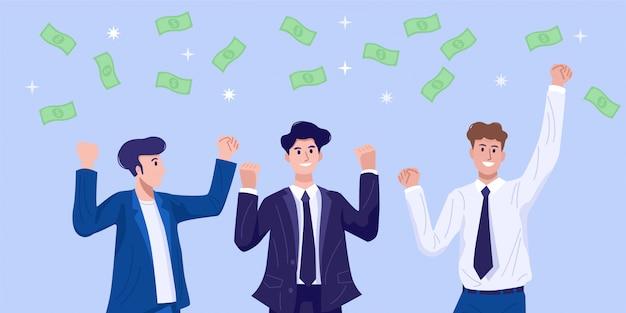 Platte ontwerpconcept, gelukkige jonge mensen uit het bedrijfsleven vieren hun succes met geld vliegen in de lucht.