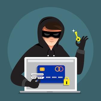 Platte ontwerpconcept hacker activiteit cyber dief op internetapparaat. illustreren.