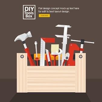 Platte ontwerpconcept handwerk tools box set