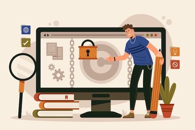 Platte ontwerpconcept intellectueel eigendom met man en desktop
