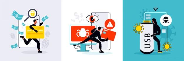 Platte ontwerpconcept met hacker gehackte computer usb creditcard geïsoleerde illustratie
