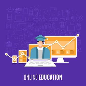 Platte ontwerpconcept online opleidingen aanwezig met pictogrammen en element van e-learning