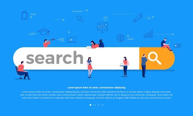 Platte ontwerpconcept teambuilding zoekbalk voor de beste resultatenpagina