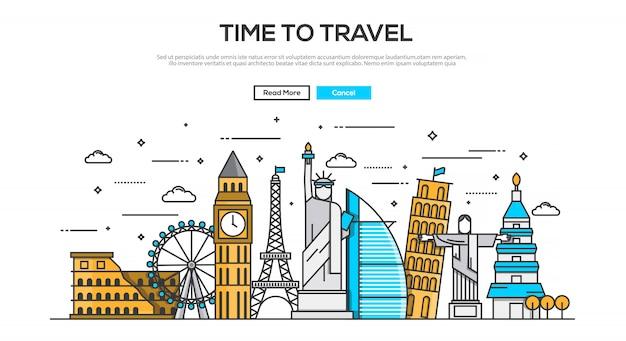 Platte ontwerpconcept-tijd om te reizen