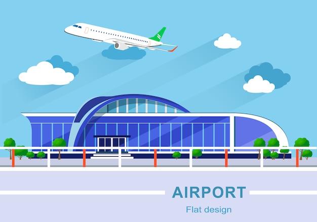 Platte ontwerpconcept van gedetailleerde luchthavengebouw met vliegtuig.