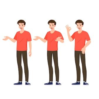 Platte ontwerpconcept van gelukkige man draagt een casual doek met verschillende poses, waarbij procesgebaren en acties worden gepresenteerd. vector cartoon karakter ontwerpset.
