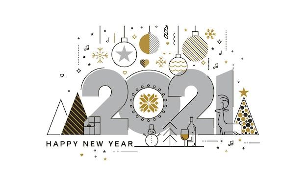 Platte ontwerpconcept van happy new year 2021 wenskaart, trendy en minimalistische kaart of achtergrond. modern dun lijnontwerp. Premium Vector